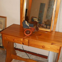 Solid wood dressing table with two drawers