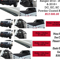 Ford Ranger 2012+ DC, EC, SC Combo's Nudges, Rollbars, Covers, Side Steps