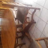 Vintage  wood table + 6 chairs