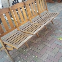 Two Four Seater Old Oak Benches.