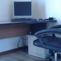 Office Desk + Full PC + Black Leather Chair for sale