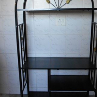 METAL STAND WITH WOODEN SHELVING