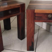 2x Solid sleeper wood side tables