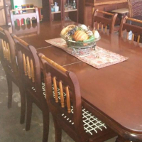 Beautiful Imbuia And Yellow Wood 8 Seater Dining Room Set Table Chairs