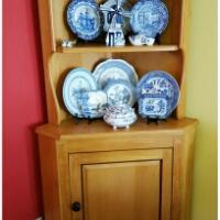 Yellow wood corner cabinet