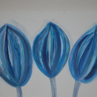 Canvas Acrylic and Oil Painting - Blue Flower Tulips