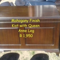 Mahogany finish kist with Queen Anne legs for sale.