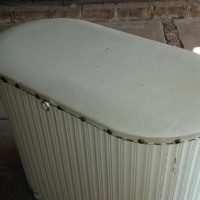 Antique white oval shaped chest