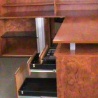 Rose wood desk plus credenza and cabinet plus pedesal.