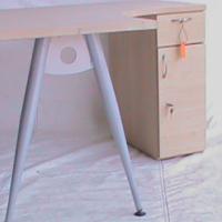 Maple curved desk plus pedestal