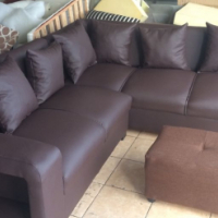 new leather dark brown L shape