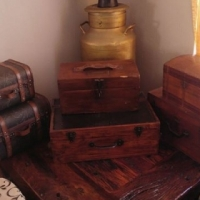 6 Antique Wooden Boxes or trunks as well as a big Copper Milk Can