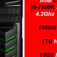 Custom Built Budget Gaming i5-7600K, 240GB SSD + 1TB HDD, 16Gb RAM (RX 570 4GB) PC