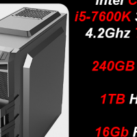 Custom Built Budget Gaming (RX 580 4GB) i5-7600K, 240GB SSD + 1TB HDD, 16Gb RAM PC