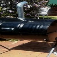 Drum smoker lid braai stand with chiminny