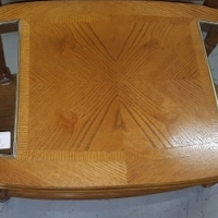 Pine coffee table with glass top