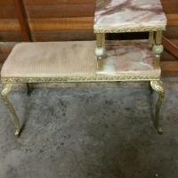 Marble & Brass Telephone Table For Sale: