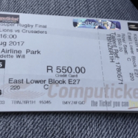 Lions V Crusaders final x2 tickets