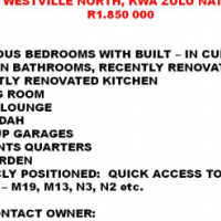 4 BEDROOM HOUSE FOR SALE - WESTVILLE, KZN