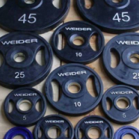 OLYMPIC BARBELL AND RUBBER COVERED WEIGHT SET