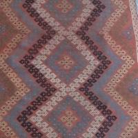 Handwoven Unique Vintage Wool Kilim Rug For Sale