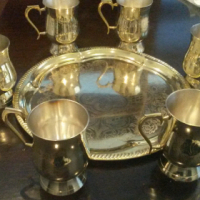 6 Brass Beer Mugs including Tray
