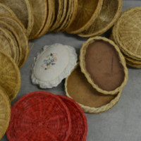 Woven Cane Paper Plate Holders