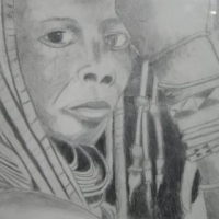 African Man and Woman Pencil sketches framed