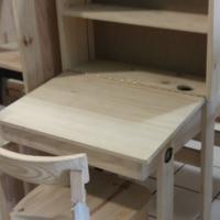 Pine Study desk with shelf - Raw