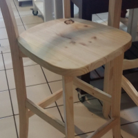Pine Cafe Bar Chair 760 mm high - Raw