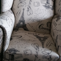 Wing Back Chair, Paris Print.