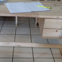 Pine 2 Drawer Study Desk - Raw