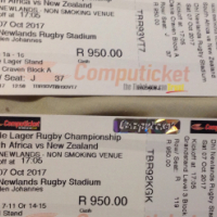 2 X Prime Tickets to watch rugby,  SA vs NZ playing at Newlands Rugby Stadium