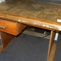 Wooden Table with Tile Surface