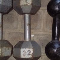 2 x 12 kg Dumbells.1 x 6 kg Dumbell
