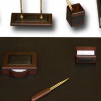 Brand New Dacasso Walnut and Leather Desk Set, 8-Piece for sale