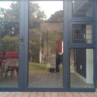 CHARCOAL ALUMINIUM DOUBLR DOOR WITH SIDELIGHT