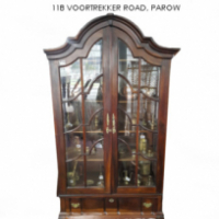 Imbuia Gable Top Display Cabinet For Sale at Springbok Furnishers.