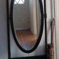 Antique Oak, Standing mirror on wheels.