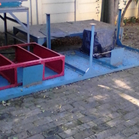 Steel tables, various sizes.