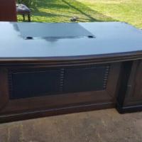 Executive Leather Inlay Desk Dark Wood