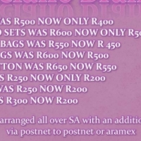 Luciano Brands    •	MK BAGS WAS R500 NOW ONLY R400 •	MK COMBO SETS WAS R600 NOW ONLY R500 •	PRADA