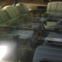 large glass dining table and chairs