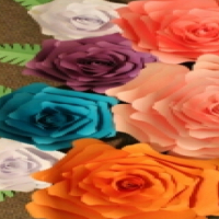 small to giant handmade paper flowers
