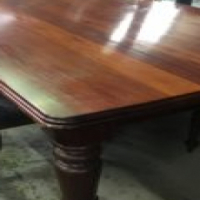 Large solid dining table + chairs