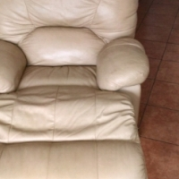 3 piece full genuine leather reclining lounge suite for half price
