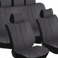 Stingray Galaxy Leather Look 11pc Seat Cover Set (grey/black)