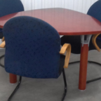 """Triangular """"Conference"""" Table with 3x Visitor Chairs."""
