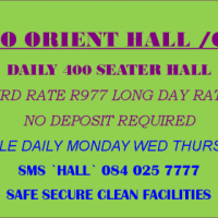 DAILY 400 SEATER HALL EARLY BIRD RATE R977 LONG DAY RATE R1477.