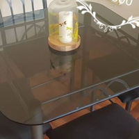 Glass Dinning room table with 4 chairs